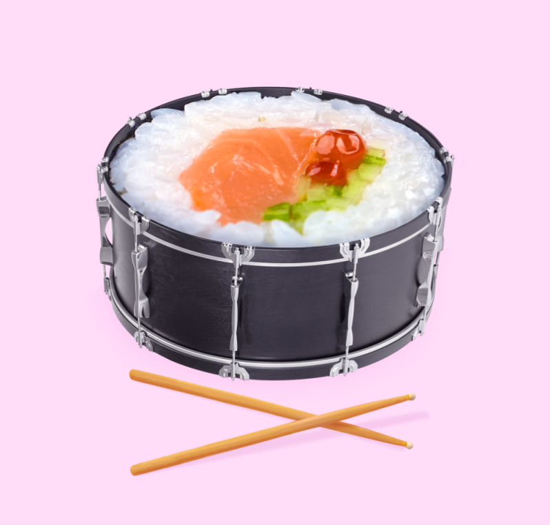 paul-fuentes-pop-art-sushi-drum
